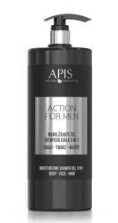 APIS  Nawilżający Żel do mycia 3W1 ACTION FOR MEN 1L