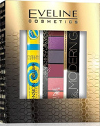 Eveline Cosmetics ZESTAW Tusz do rzęs Extension Volume Push Up + Paleta cieni Modern Glam