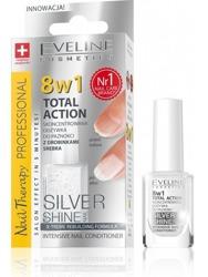Eveline Nail Therapy 8w1 Total Action Silver Shine - Skoncentrowana odżywka do paznokci z drobinkami srebra 12ml