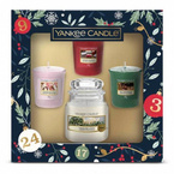 Yankee Candle Countdown To Christmas Zestaw prezentowy 3x świeca typu votive + świeca słoik mały 104g