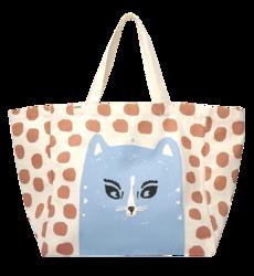 Yope Bawełniana torba w kropki z kotem, bardzo duża