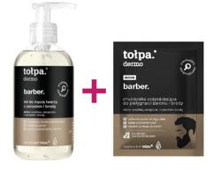 Zestaw Tołpa Men Barber Żel do mycia twarzy z zarostem i brodą 150ml + Chusteczki oczyszczające do zarostu 8szt