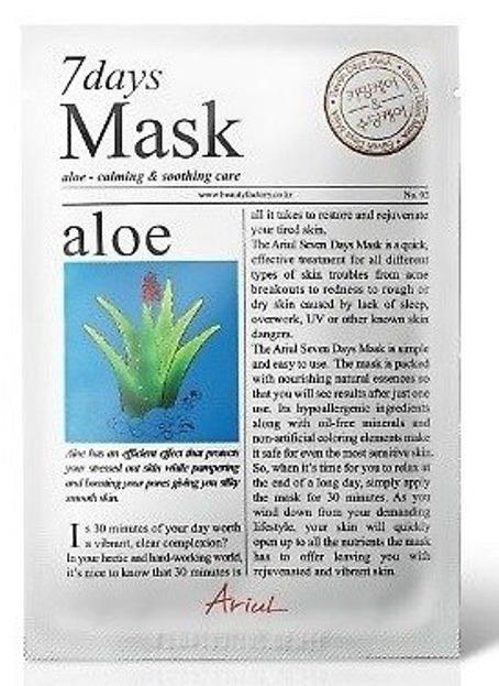 Ariul 7 days Mask Aloe Maska w płachcie łagodząco-kojąca 20g