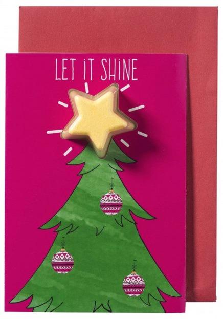 Bomb Cosmetics Kartka świąteczna z gwiazdką musującą do kąpieli Let It Shine
