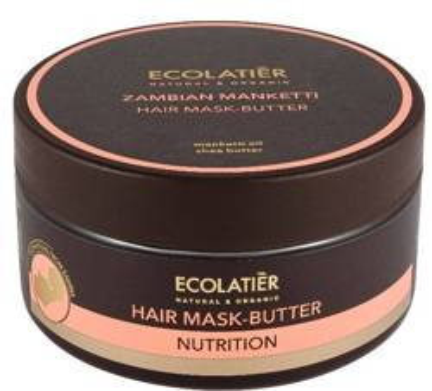 ECOLATIER Odżywcza maska masło do włosów Zambian Manketti włosy średnio, wysokoporowate 200ml