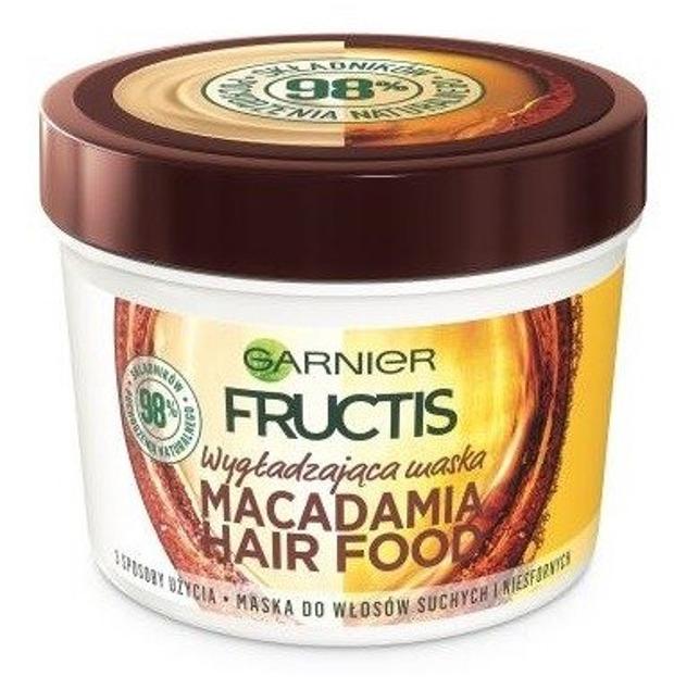Garnier Fructis Macadamia Hair Food Wygładzająca maska do włosów suchych i niesfornych 390ml