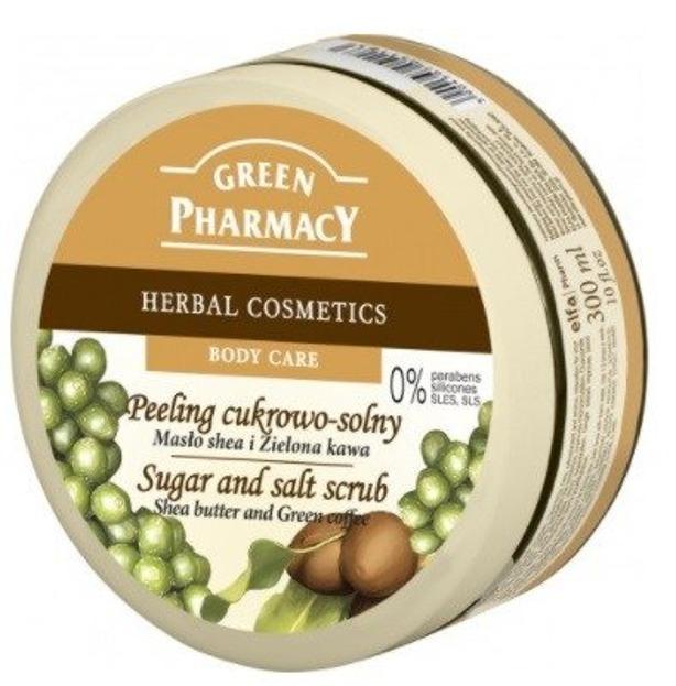 Green Pharmacy Peeling do ciała cukrowo - solny Masło Shea i Zielona Kawa 300ml
