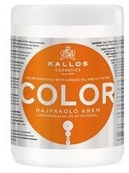 Kallos Color  Hair Mask - Maska do włosów farbowanych z olejem ziarna lnu i filtrem UV, 1000 ml