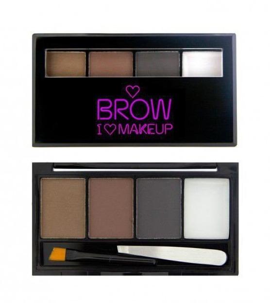 MAKEUP REVOLUTION I Heart Makeup Brow Kit Paletka cieni do brwi z akcesoriami - Bold Is Best