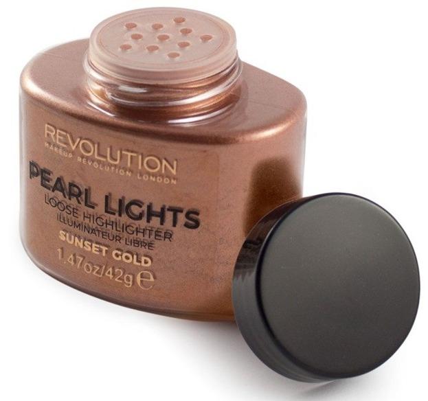 Makeup Revolution Pearl Lights Loose Highlighter Puder rozświetalający SUNSET GOLD 42g