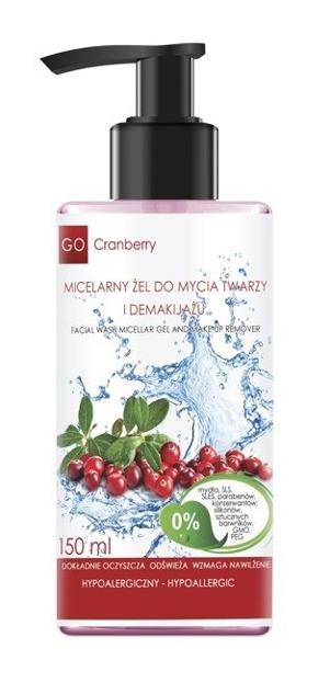 Nova Kosmetyki GoCranberry Micelarny żel do mycia twarzy i demakijażu 150ml