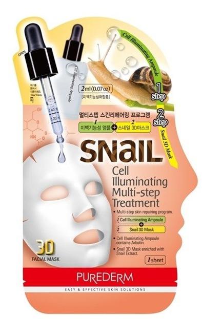 Purederm Snail Maseczka Cell Illuminating 3D Maseczka z ekstraktem ślimaka 2g