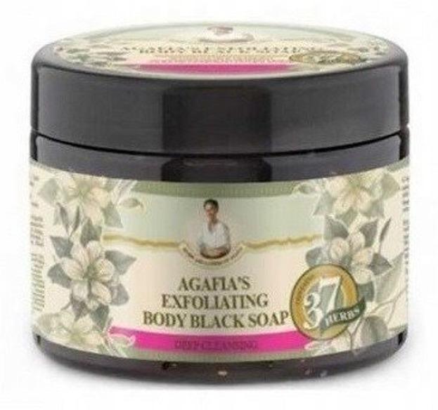 Receptury Babuszki Agafii Złuszczające mydło ziołowe Czarne 37 ziół EXFOLIATING 300ml