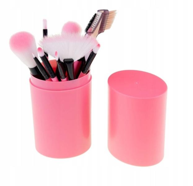 Zestaw pędzli do makijażu 12 sztuk różowe + tuba